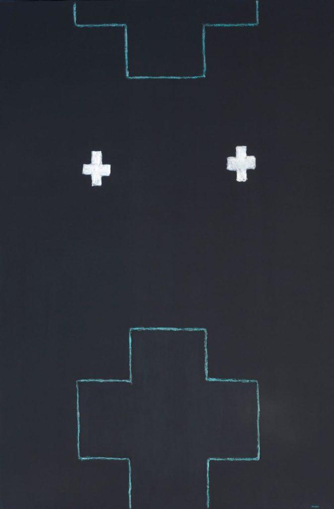 """Enric Ansesa, """"Els jardins de la memòria estan plens de creus estimades"""" (1993), 195 x 130 cm, tècnica mixta sobre tela."""