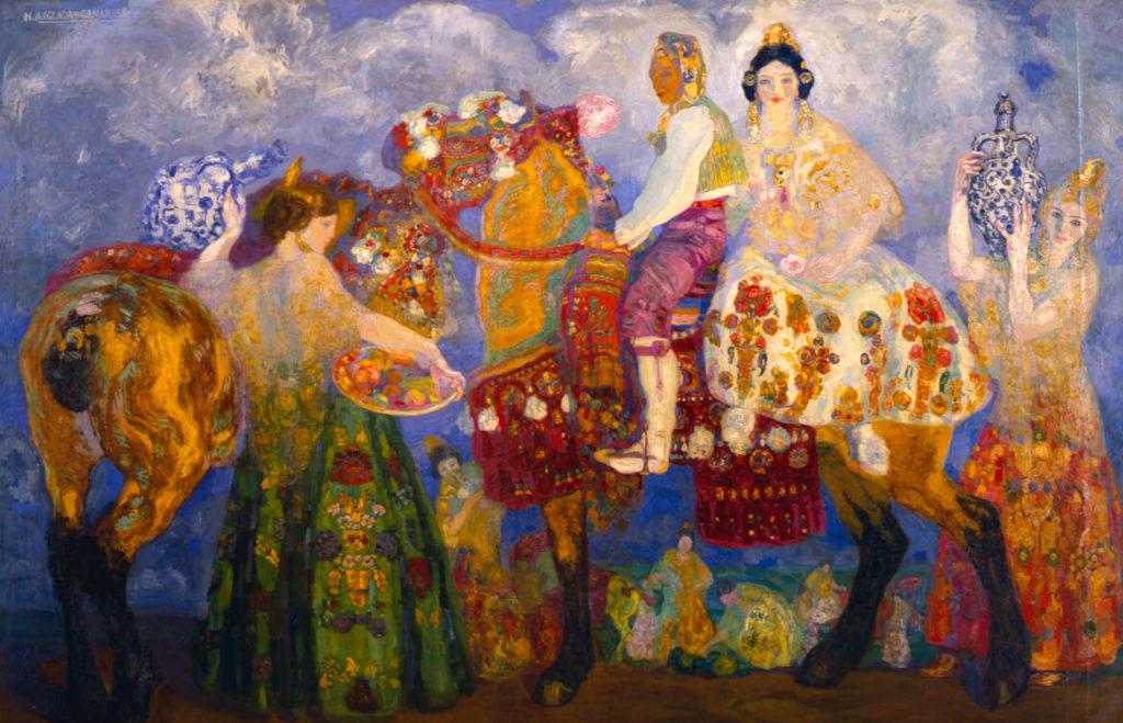 """""""Campesinos de Gandía"""" d'Anglada-Camarasa. Museo Bellas Artes de Asturias"""