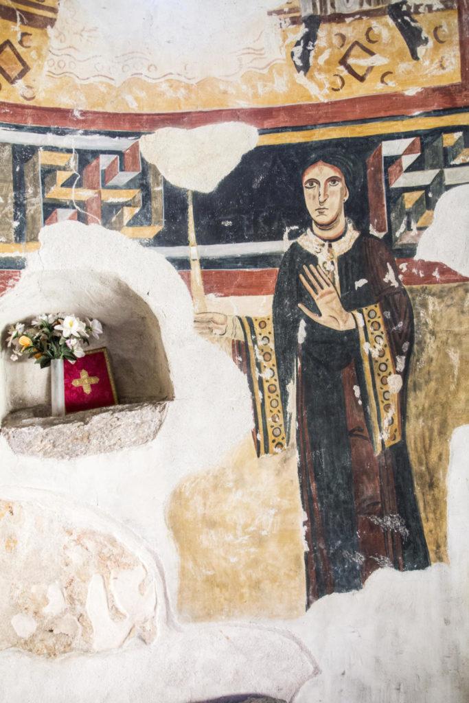 Retrat de Llúcia de la Marca a Sant Pere del Burgal. Font: Ecomuseu de les Valls d'Àneu – Oriol Riart.