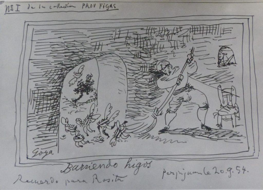 "Picasso.""Barriendo higos"", 20 de setembre del 1954. Tinta sobre paper, 13 x20 cm. Thermalia, Museu Caldes de Montbui"