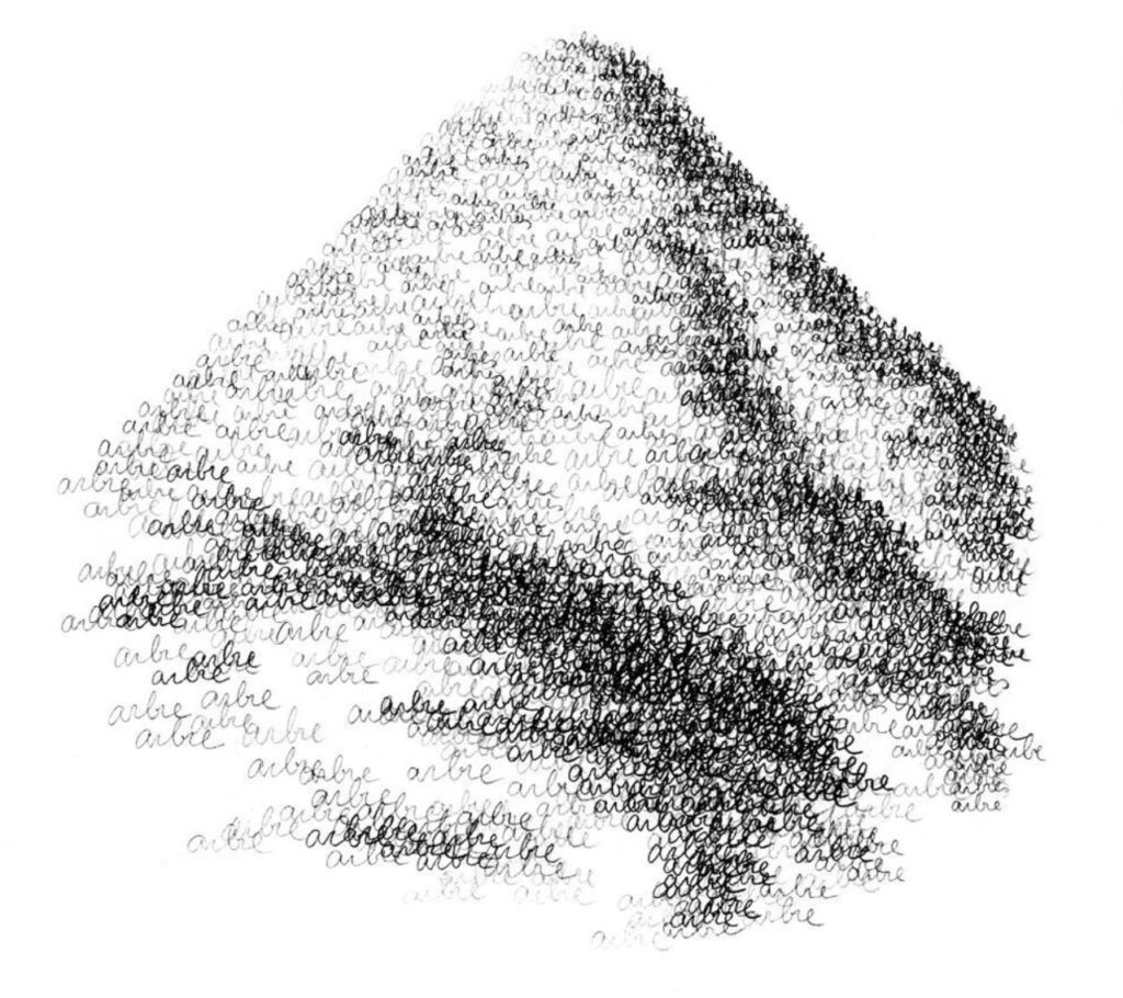Fonts líquides i fonts lignificades, il·lustració de Perejaume que acompanya un article a l'ara.cat de la seva autoria