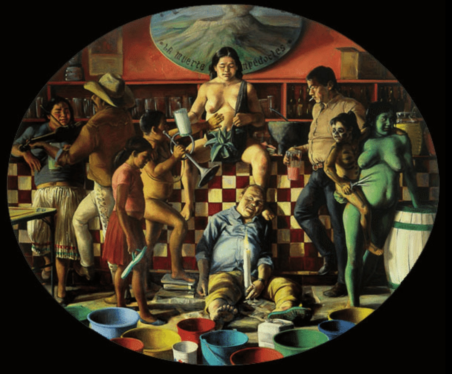 """""""La muerte de Empédocles"""", obra del pintor surrealista mexicà Daniel Lezama. Per a Lezama, la realitat i els fets denominats reals no es contraposen a la dimensió fantàstica, sinó que és l'individu qui ha de fer el salt de fe o de pensament, però passant de l'anecdòtic a la creació."""