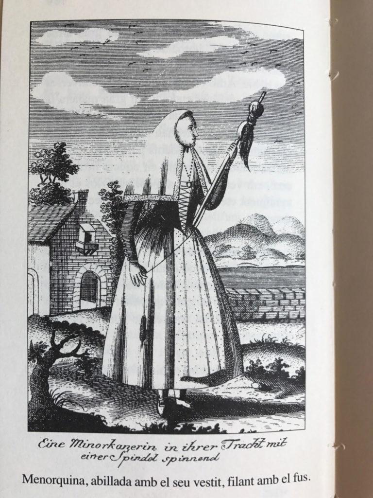 """Gravats de Lindemann a L'illa de Menorca: segons les seves paraules, un """"foner baleàric"""" i una """"menorquina, abillada amb el seu vestit, filant amb el fus""""."""