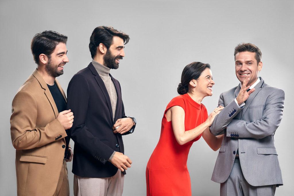 Enric Cambray, David Verdaguer, Mar Ulldeolins i Marc Rodríguez són els nous intèrprets d''El mètode Grönholm', al Poliorama. Foto: Daniel Escalé